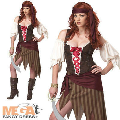 Buccaneer Beauty Pirate Ladies Fancy Dress Costume Halloween Movie Adult Outfit - Adult Pirate Movie