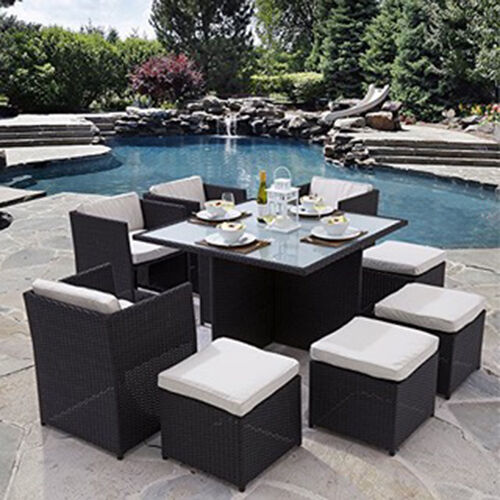 Garden Furniture - RATTAN GARDEN FURNITURE CUBE SET CHAIRS TABLE OUTDOOR PATIO RATTAN BLACK / BROWN