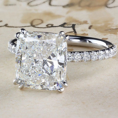 Certified 5Ct White Cushion Cut Diamond Solitaire Engagement Ring 14K White Gold