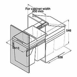 Kitchen twin waste bin 500mm cabinet width for Kitchen cabinets 500mm width
