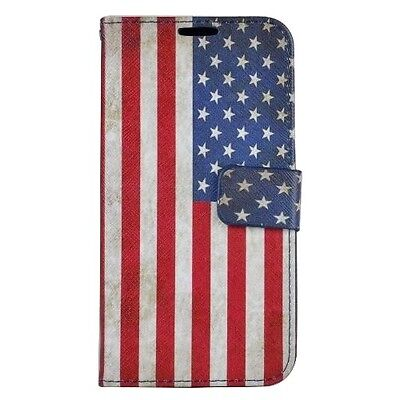 For Samsung Galaxy S7 - Leather Wallet Holder Pouch Case Cover USA American Flag](Flag Holder Case)