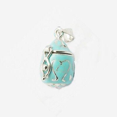 Aqua Blue Scrolled Teardrop Silver Wish Prayer Box Locket Charm Or Pendant