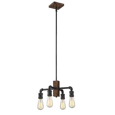 Replica Wood with Antique Black Finish 4 Light Vintage Chandelier (Vintage Antique Finish Chandeliers)