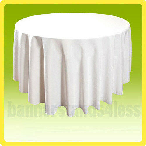 """120"""" WHITE Round Tablecloth Table Cover Wedding Banquet Event Cloth"""