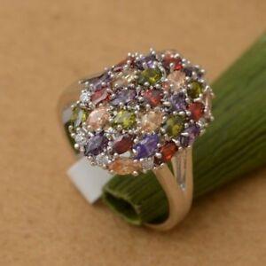 NEW Multi-colour Amethyst, Garnet & Topaz Ring Size 7