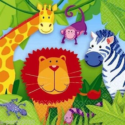 JUNGLE ANIMALS SMALL NAPKINS (16) ~ Birthday Party Supplies Cake Beverage Safari (Jungle Birthday Supplies)