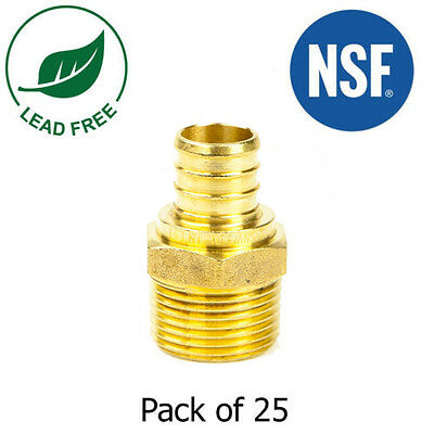 34 Pex X 34 Male Npt Threaded Adapters Brass Crimp Fitting Lead Free -25 Pcs