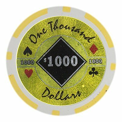 Black Diamond 14g Poker Chips, $1,000 Heavy Weight Clay Composite, - Diamond Clay Composite Poker Chips