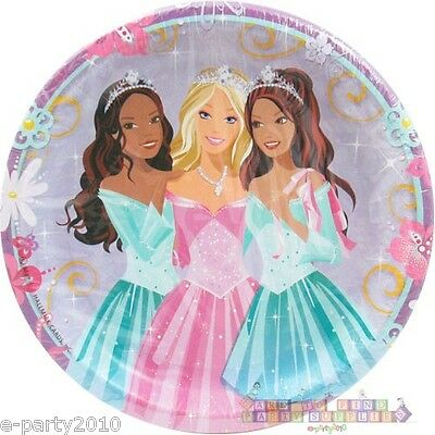 Barbie Party Plates (BARBIE Perennial Princess LARGE PAPER PLATES (8) ~ Birthday Party Supplies)