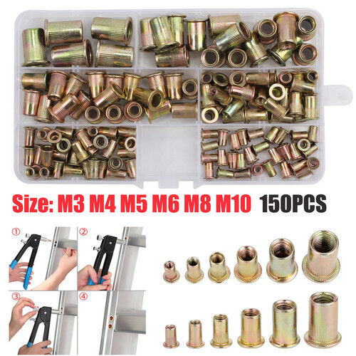 150pcs Rivet Nut Kit Zinc Steel Rivnut Insert Nutsert Open End Threaded M3-M10
