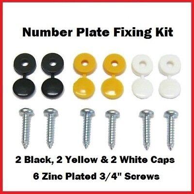 Private Personalised Number Plate Fixing Kit Fitting Kit 6 X Screws & Hinge Caps