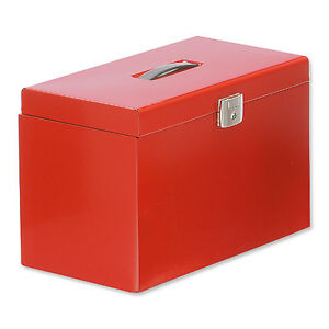 STRONG-A4-FOOLSCAP-SUSPENSION-METAL-HOME-FILE-BOX-RED