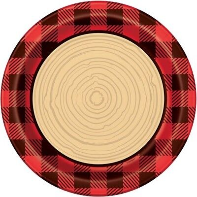 PLAID LUMBERJACK LARGE PAPER PLATES (8) ~ Birthday Party Supplies Dinner Lunch - Plaid Paper Plates