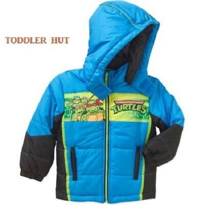 New Teenage Mutant Ninja Turtle Coat Jacket Boys Blue Padded Hooded outerwear 2T