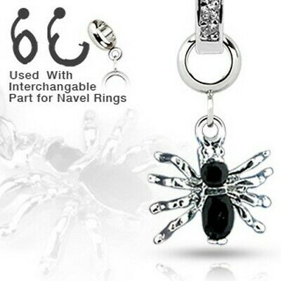Spinnen Anhänger für Bauchnabel Piercing Körperschmuck Kristalle silber schwarz (Körper-schmuck Für Piercing)