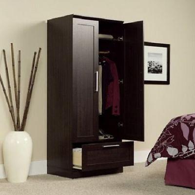 Used, Storage Cabinet Closet Clothe Wardrobe Kitchen Dark Oak Finish Space Saver Wood  for sale  Flint