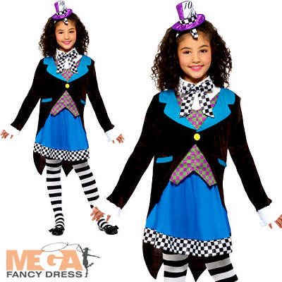 Miss Mad Hatter Girls Fancy Dress World Book Day Character Kids Childs Costume (Mad Hatter Girls Costume)