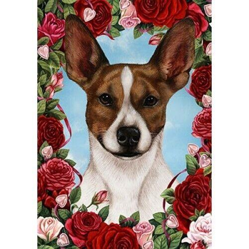 Roses Garden Flag - Brown and White Rat Terrier 191301