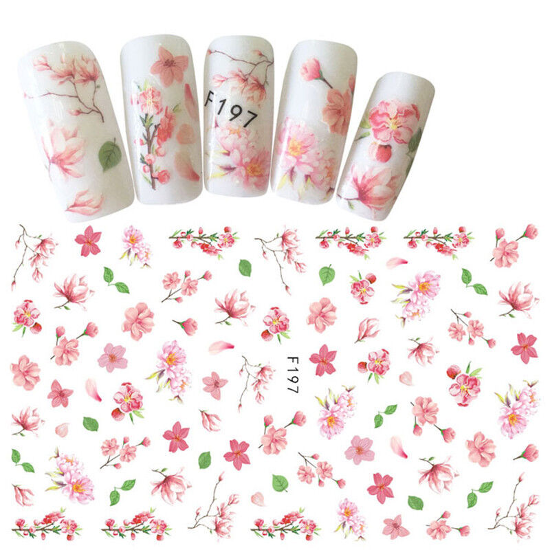 Pink Flower 3D Nail Art Stickers Colorful Adhesive Transfer Stickers Decals DIY