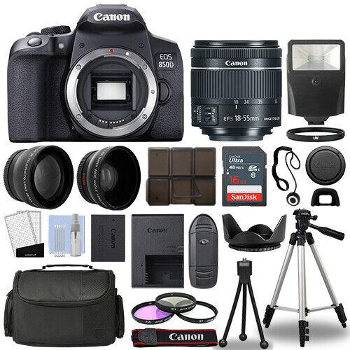 Canon EOS 850D / Rebel T8i SLR Camera + 3 Lens Kit 18-55mm + 16GB + Flash & More