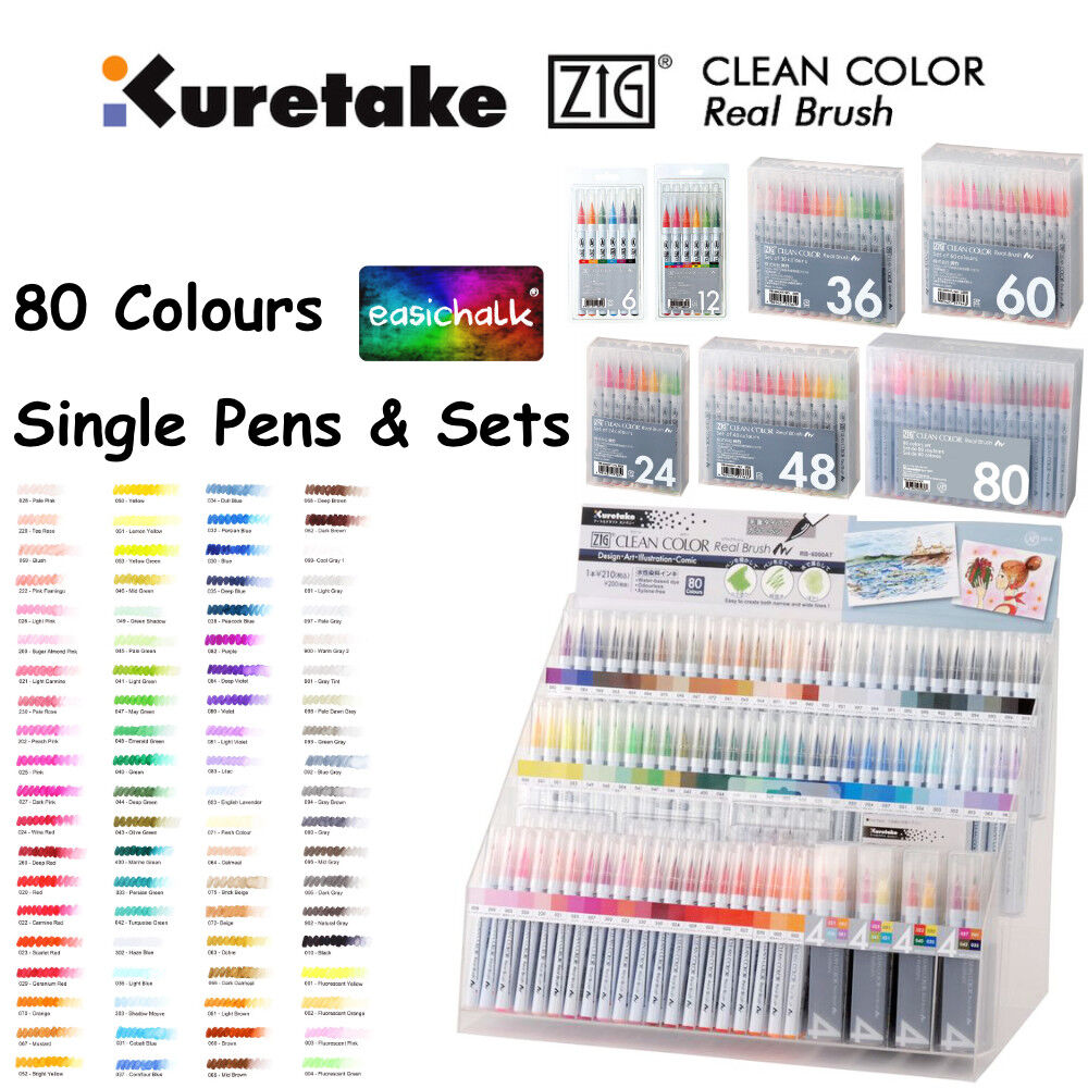 Zig Clean Color Real Brush Pen Watercolour Artist.  80 Colou