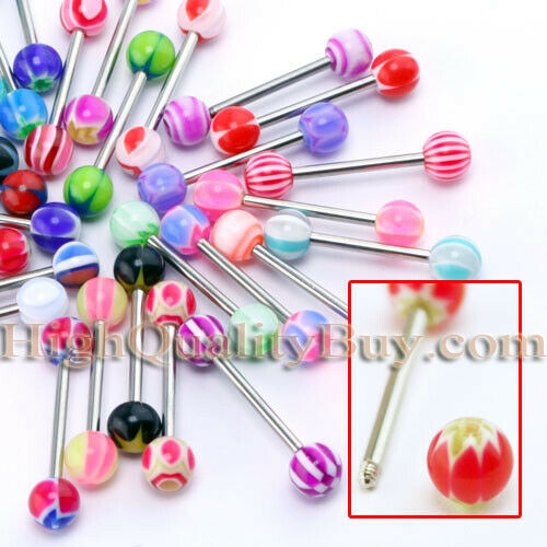 30Pcs/set Mod Bright Mixed Tongue Ring Piercing Jewellery Tounge Newest Useful