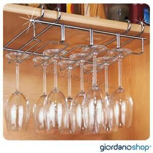 Appendi calici bicchieri sottomensola in acciaio cromato - Appendi utensili da cucina ...