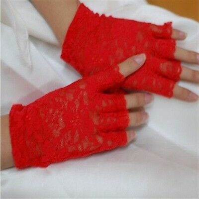 Burlesque Halloween-party (Goth/Halloween/Party red Sexy  Lace Gloves- Fingerless Style-BURLESQUE/COSPLAY)