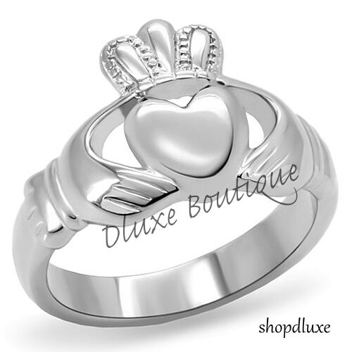 Ring - Women's Stainless Steel Irish Claddagh Promise Friendship Ring Band Size 5-10