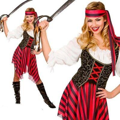 Damen Piratenkostüm Hoher See Karibik Dirndel Outfit UK 6-28