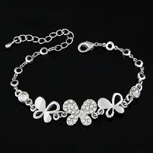 Crystal Bracelets Bangles Chains Jewellery Childrens Butterfly Heart Silver NEW