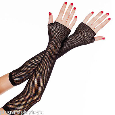 Goth Punk Black Fishnet Long Stretchy Above Elbow Fingerless Gloves Arm Warmers - Black Arm Warmers