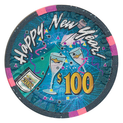 ALADDIN $100 HAPPY NEW YEAR 2002 CASINO CHIP ONLY 50! LAS VEGAS - FREE SHIPPING
