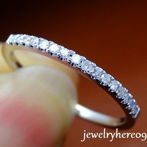 1-4mm-Wide-Pave-SI2-Diamond-Solid-14K-White-Gold-Half-Eternal-Wedding-Band-Ring