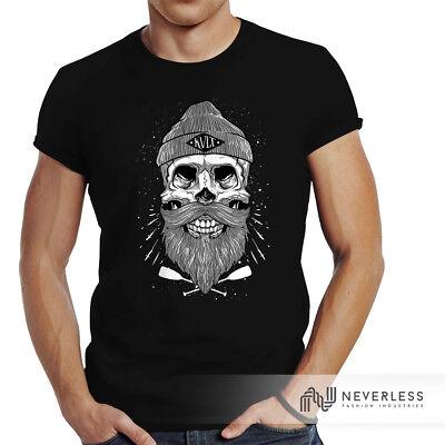 Herren T-Shirt Captain Skull Beard Totenkopf Bart Kapitän Slim Fit Neverless®