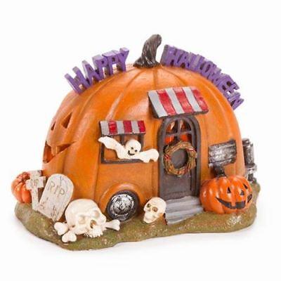 loween Pumpkin Camper House Resin Figurine Dollhouse Statue (Halloween Fairy Garden)