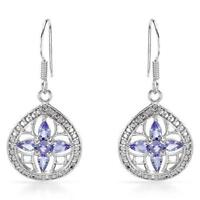 NEW EARRINGS WITH GENUINE TANZANITES CRAFTED IN STERLING SILVER