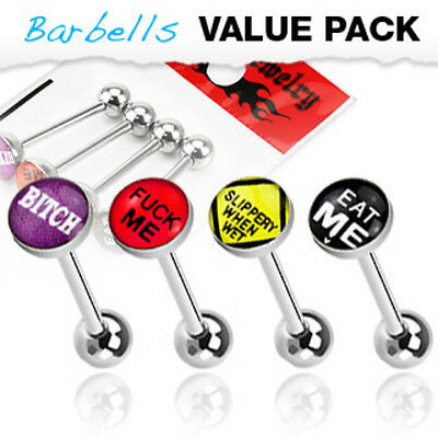 4pc Value Pack Epoxy Dome Bad Word Tongue Rings 14g Tounge Body Jewelry Lot