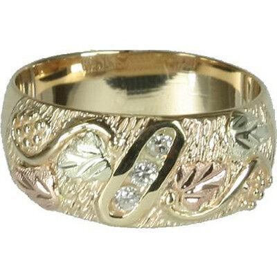 Black Hills Gold mens diamond band ring whl/half size 9.5 10 11 12 13 14 Black Hills Diamond Mens Bands