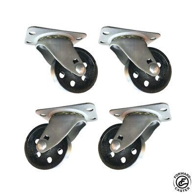 Vintage 2 Industrial Swivel Casters Set Of 4 Black Cast Iron Wheels