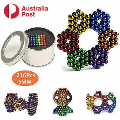 216PCS Magnetic Bead Ball Metal Gift Tin Seller 3mm+6 Colors Set + Box