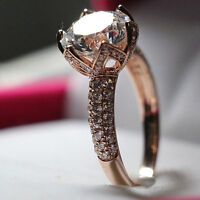 Bague diamond synthetic 3ct argent sterling 925 plaqué 18K or ro