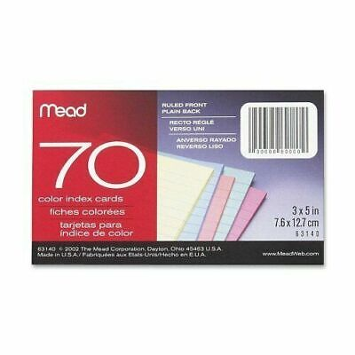 Index Cards Ruled 70 Sheets 3x5 Assorted 1 Pack