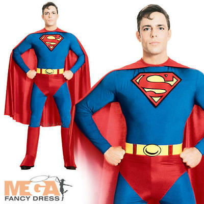 Classic Superman Men's Fancy Dress Superhero Adult Costume Outfit - All Sizes - Superman All Costumes