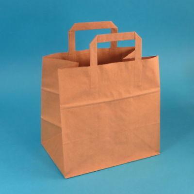 250 Papiertragetaschen Papiertüten Bio Einkaufstüten Papier braun 26+17x25cm 70g