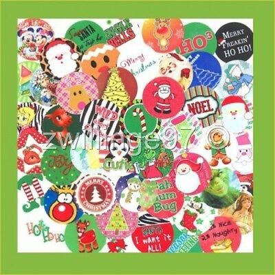 100 Precut Assorted Christmas Xmas Bottle Cap Images Variety Mix 1 Inch Discs
