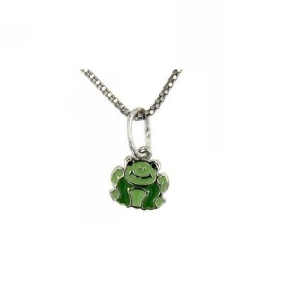 - Sterling Silver Baby Pendant Green Enamel Frog Charm With 18