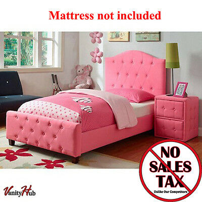 Pink Upholstered Pair Bed Girls Bedroom Platform Furniture Headboard Princess