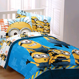 Minions twin sheets, reversible comforter and wall decals