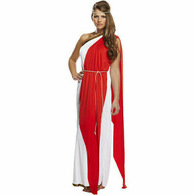 Ladies Long Red Greek Roman Goddess Toga Fancy Dress Outfit Womens Adult Costume